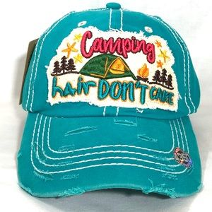Camping Hair Don't Care Vintage Baseball Cap Blue
